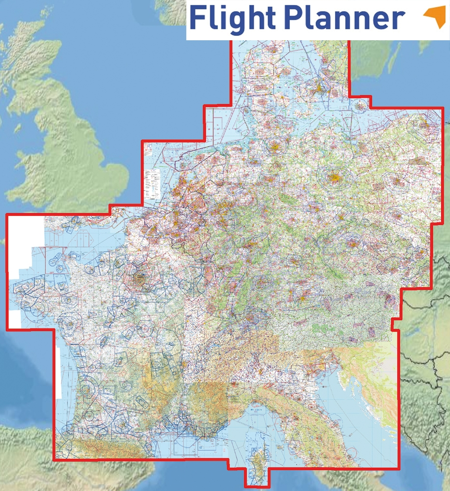 Map Of Germany With Neighbouring Countries.Flight Planner 6 With Icao Charts Germany And Neighbouring Countries