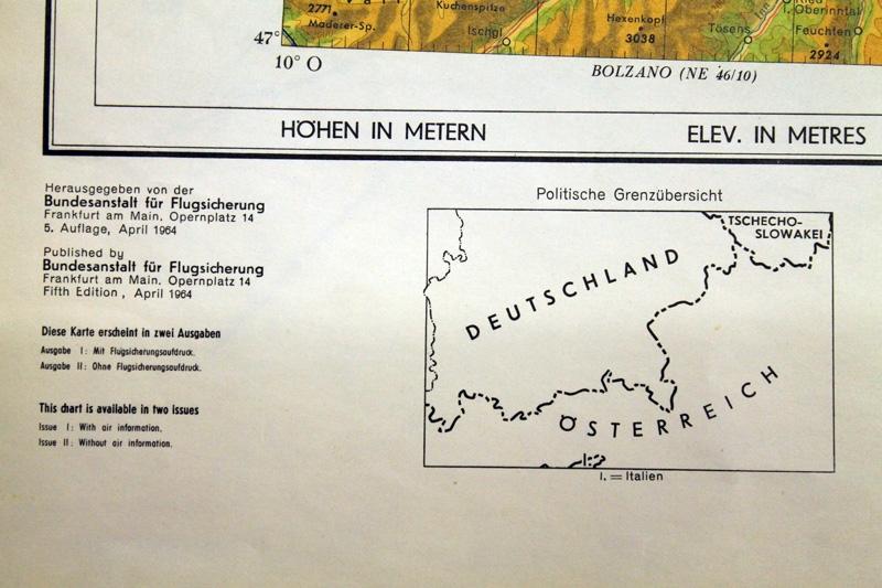 München Karte Deutschland.Luftfahrtkarten Headsets Flugfunk Historische Karte München 1964