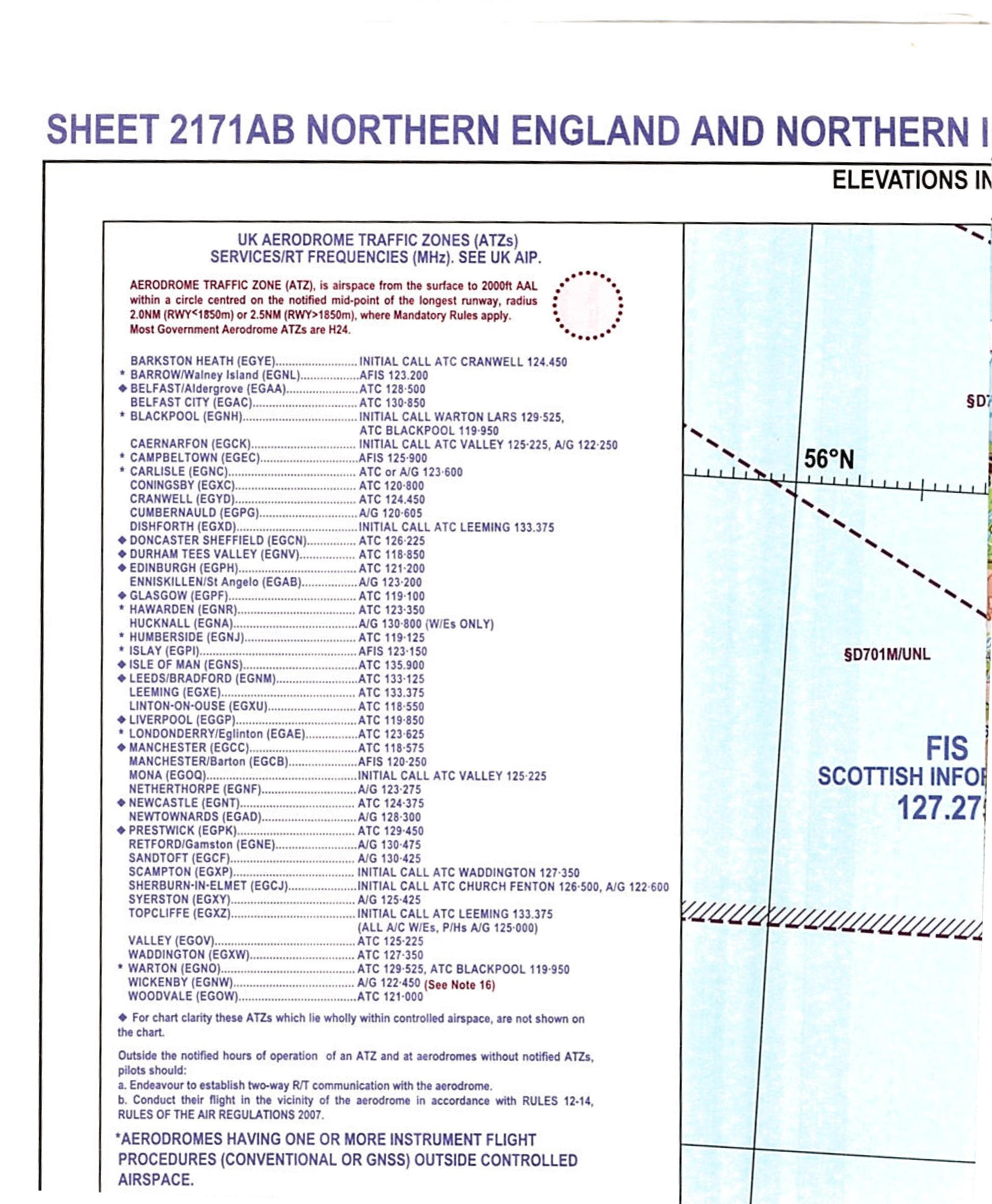 Karte Uk.Icao Karte Grossbritannien Nord England