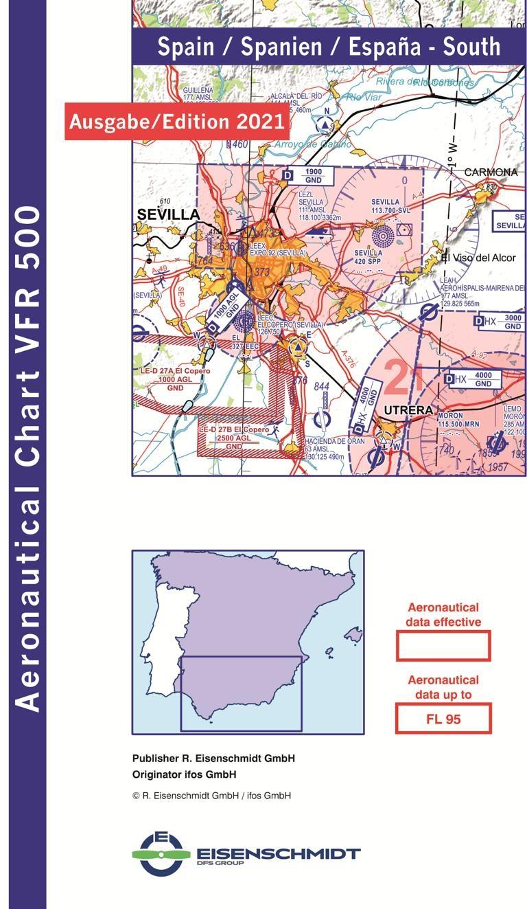 Luftfahrtkarten Headsets Flugfunk Vfr 500 Karte Spanien Sud